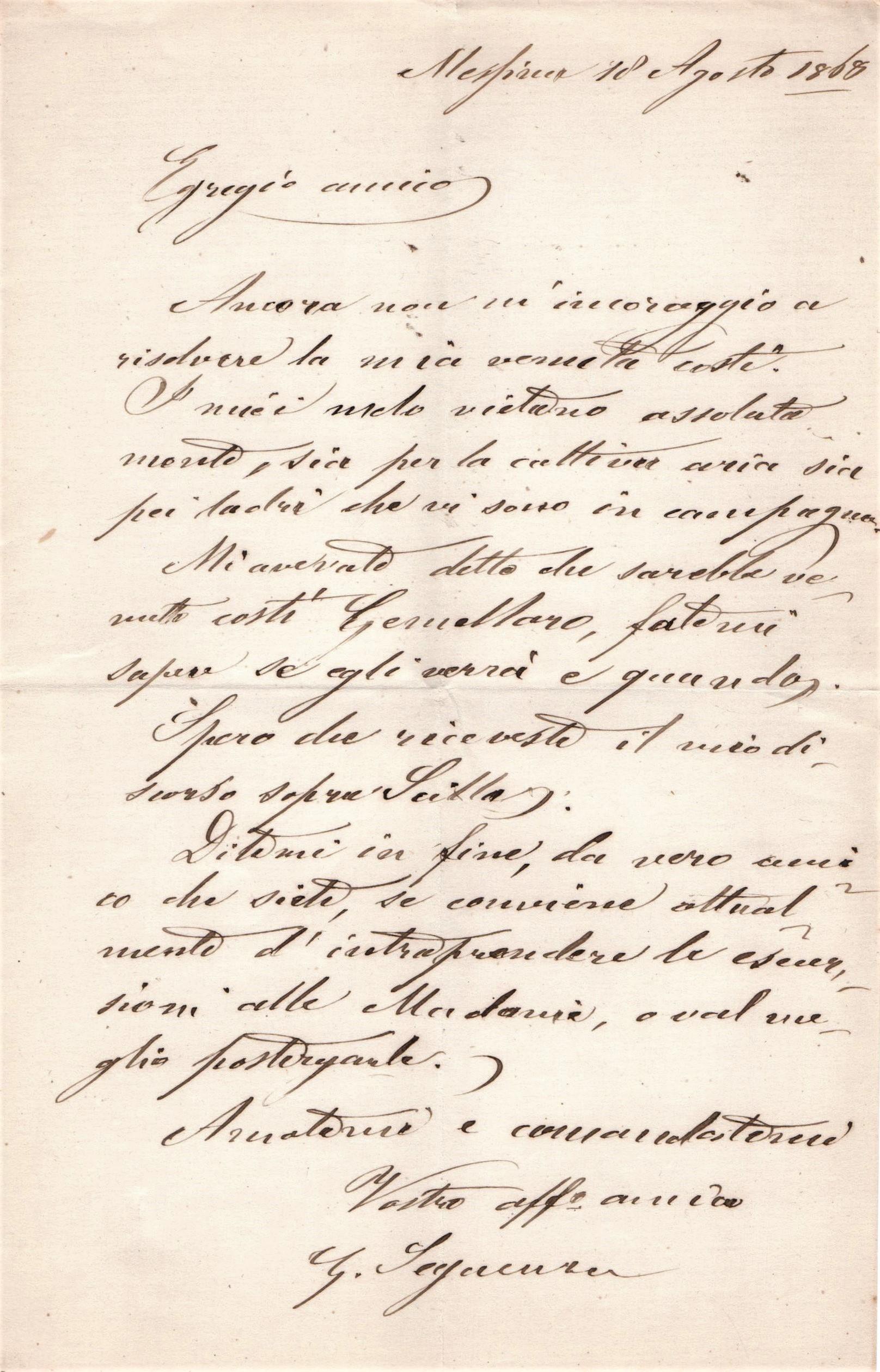 lettera di Seguenza al Minà in cui si parla di una escursione sulle Madonie da fare insieme ma che per problemi di salute da parte dell'entomologo devono postcipare.