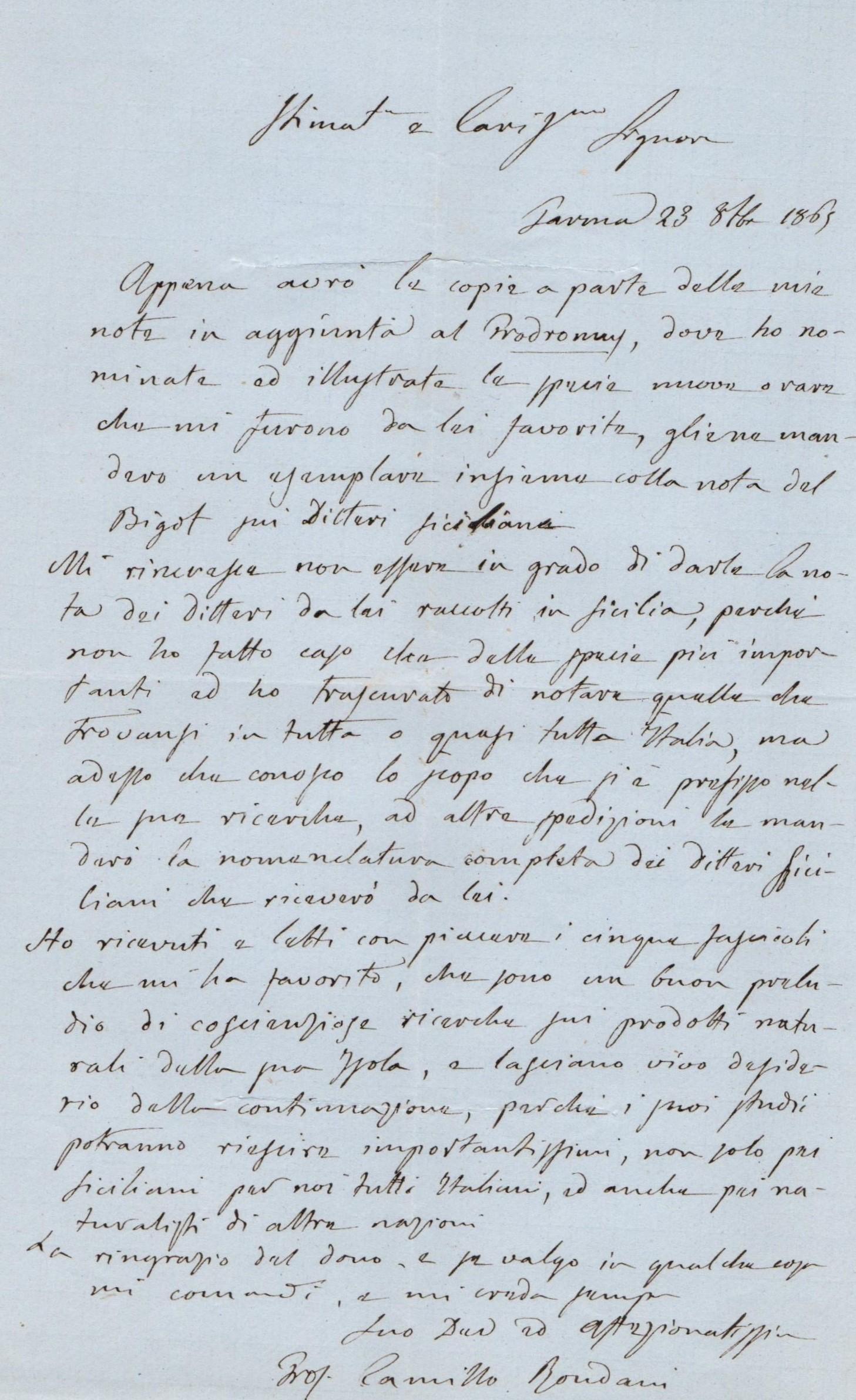 lettera di camillo rondani al Minà in cui si scusa per non aver ancora identificato alcune specie di Ditteri ricevuti.